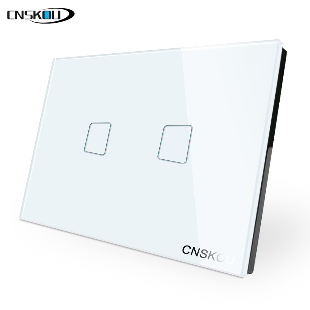 cnskou us standard 2gang 1way wall touch switch white
