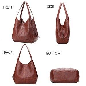 Image 4 - 2019 Vintage kadın omuzdan askili çanta kadın nedensel tote çanta büyük kapasiteli lüks tasarımcı yüksek kaliteli bayan çanta kesesi Femme