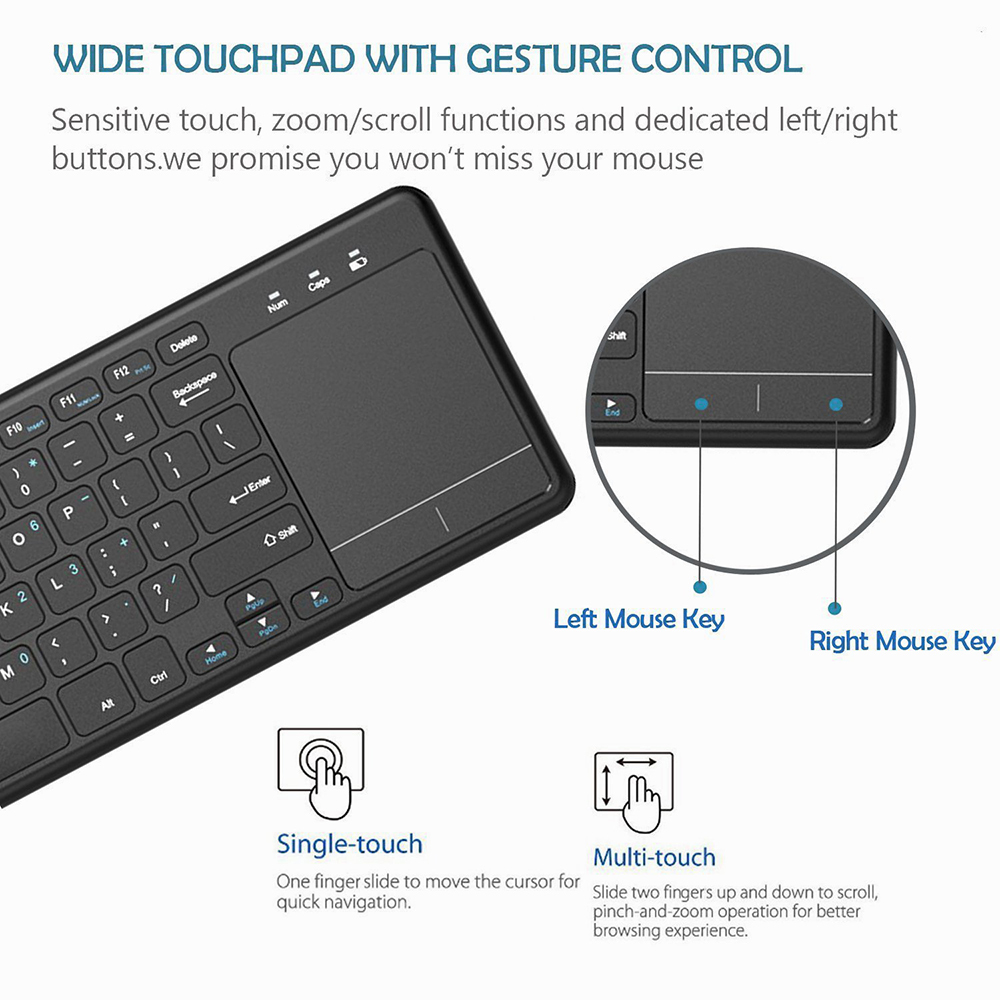 Zienstar2 4Ghz Touchpad Wireless Keyboard for Windows PC,laptop,ios  pad,Smart TV,HTPC IPTV,Android Box,English/Russia/Fr/Arabic