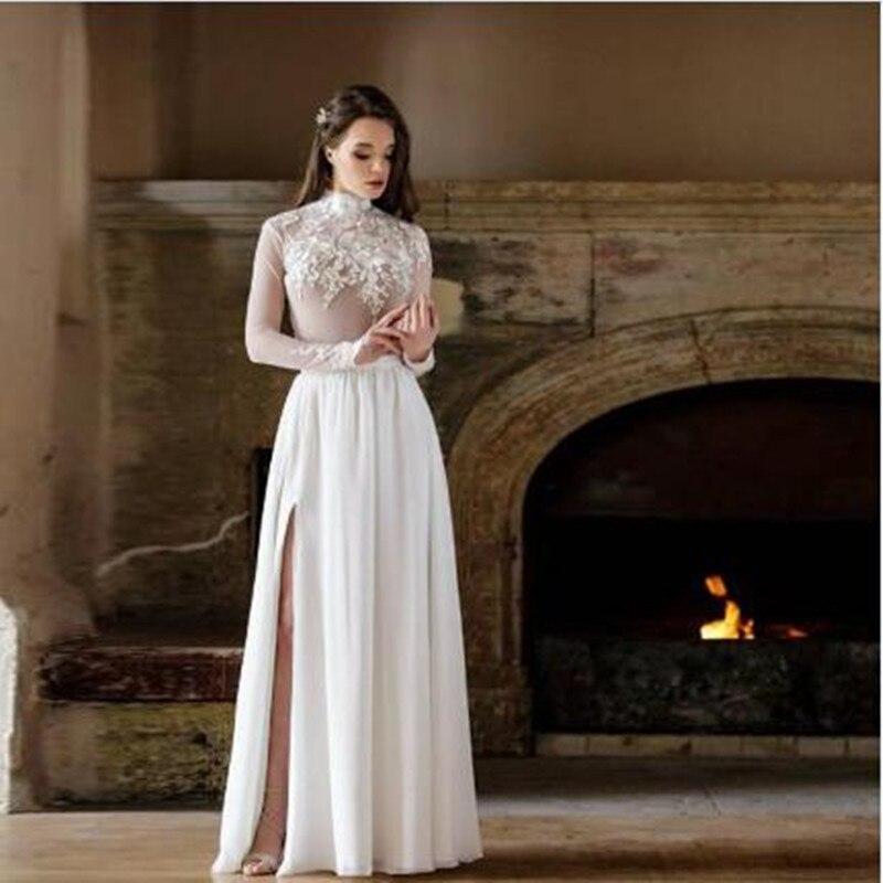 White Ivory Chiffon Beach Boho Wedding Skirts Side Slit Zipper Waistband Floor Length A Line Bridal Maxi Skirts Custom Made