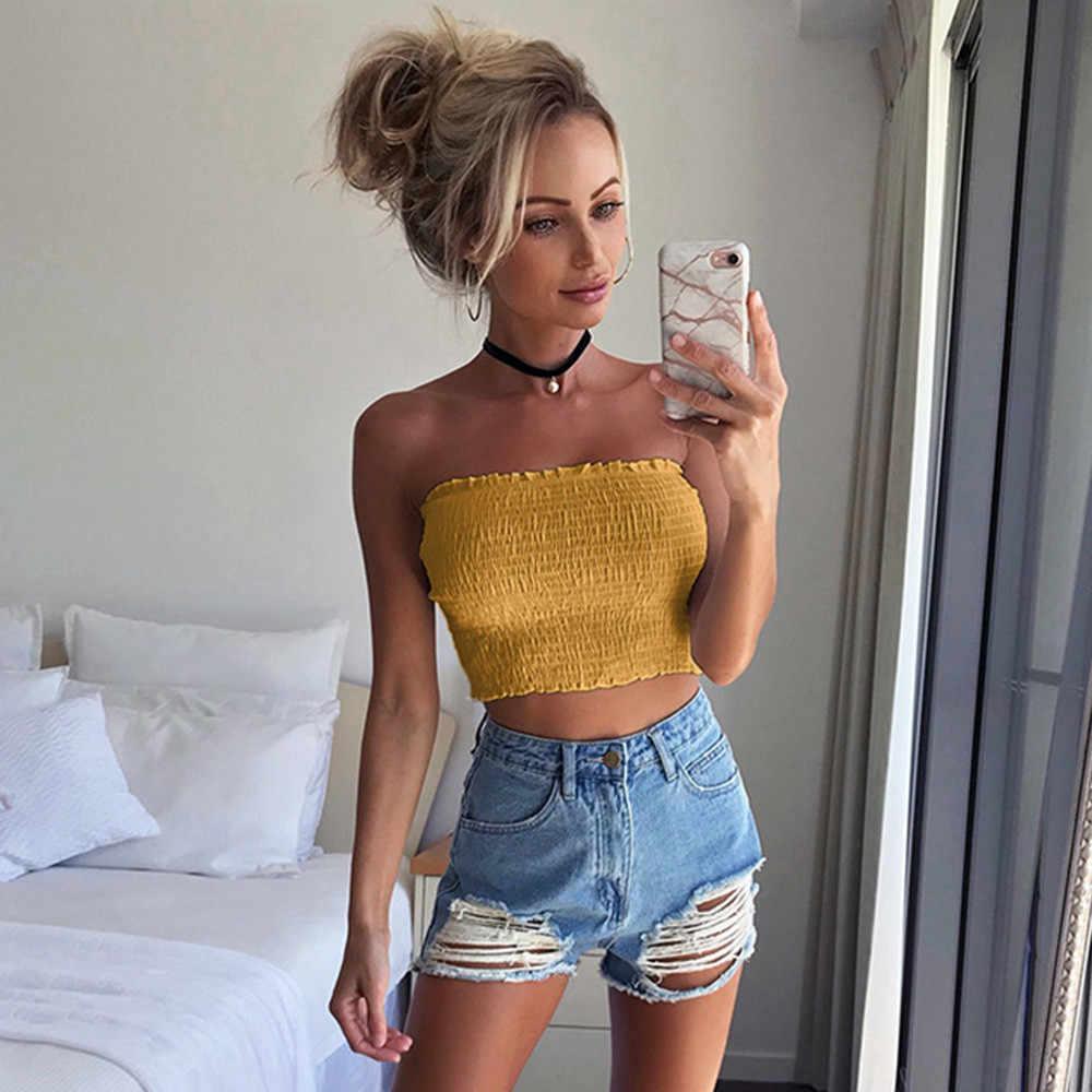 JAYCOSIN חדש אופנה נשים חולצה סטרפלס אלסטי Boob Bandeau סטרפלס חזייה הלבשה תחתונה שד לעטוף קיץ סקסי חולצות MAY07