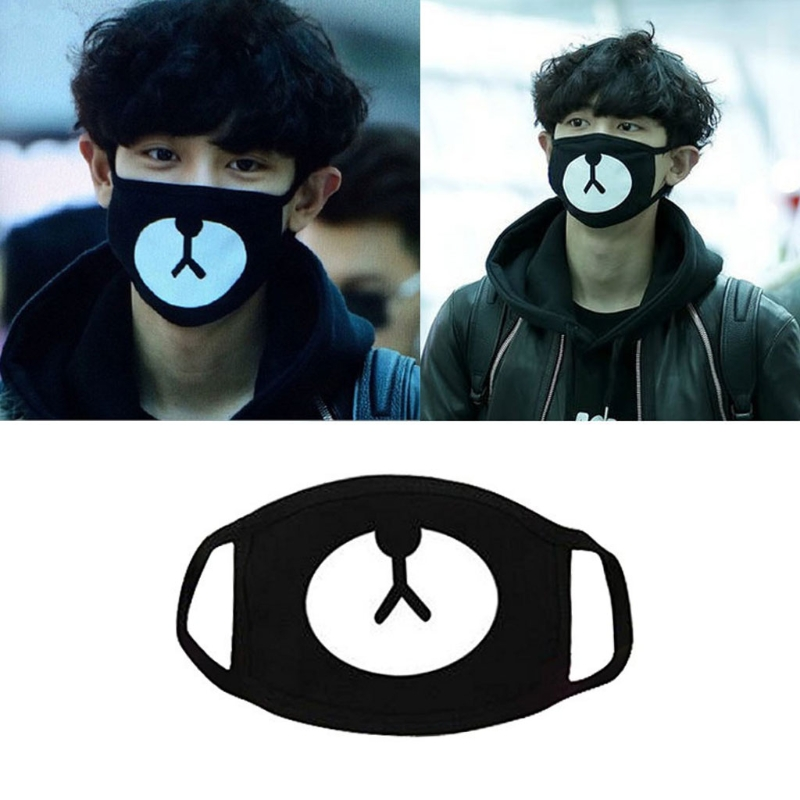 2019 New Fashion Men Women Unisex Solid Color Black Cosplay Party Outdoor Cool Anti Dust Cotton Mouth Mask Cute Bear