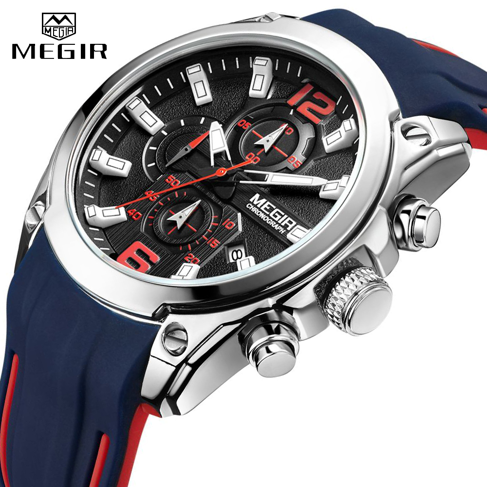 <font><b>MEGIR</b></font> Men's Chronograph Analog Quartz Watch Army Military Silicone Strap Watch Clock Men Top Brand Luxury Male Relogio Masculino image