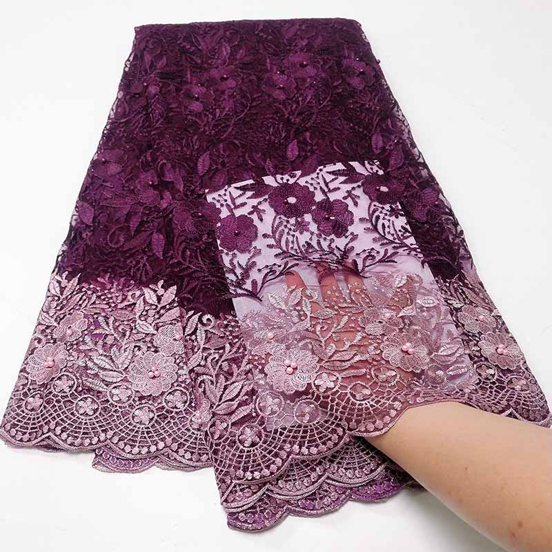 2019 New French Nigerian Lace Fabric High Quality Beads African Lace Fabric Wedding African Embroidered French