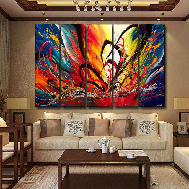 Bright Color Canvas Painting Picture Wall Art Home Decoration Hand Painted  Modern Abstract Oil Painting On