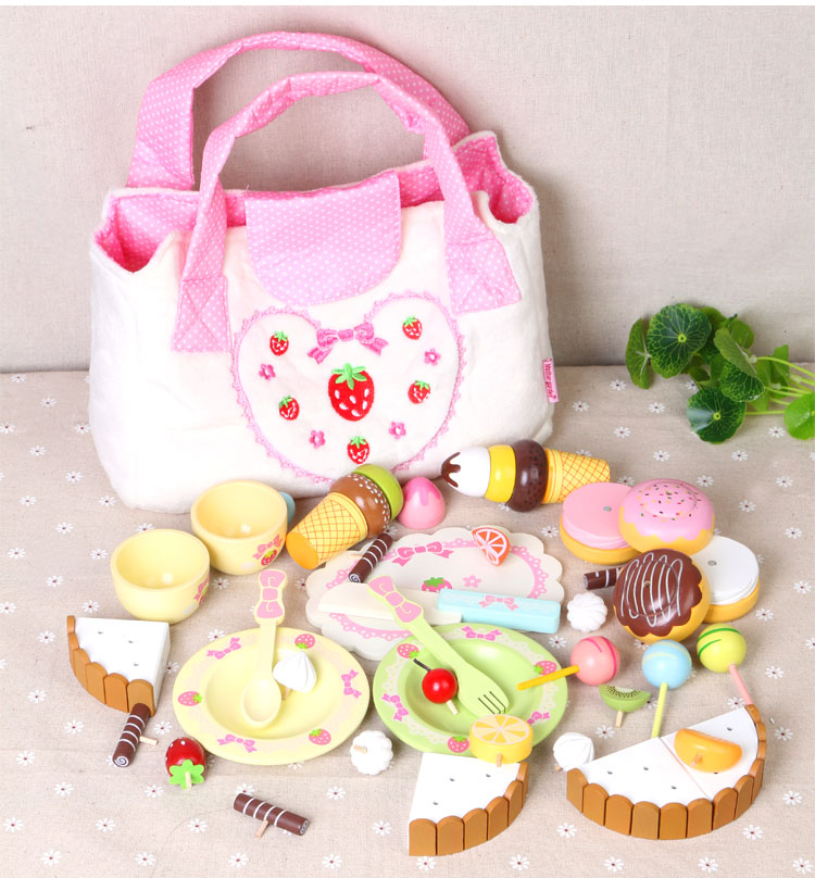 ФОТО New Arrival Baby Toys Simulation Chocolate Cake Afternoon Tea Mix Set Wooden Toys Cloth Bag Kitchen Toys Chriatmas Gift