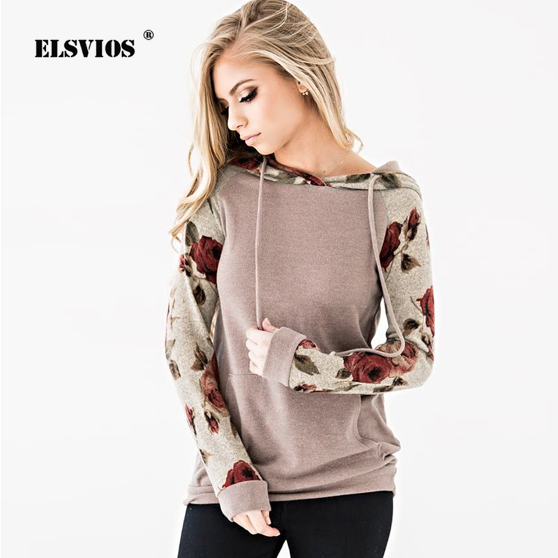 ELSVIOS Patchwork Floral Print Hoodies Sweatshirt Women Long Sleeve Hooded Drawstring Tops Jumper Autumn Winter Pockets Pullover