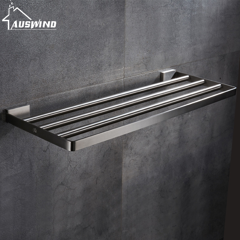 купить AUSWIND modern 304 stainless steel bathroom towel rack bathroom shelf towel rack wall mount bathroom products 40/50/60cm по цене 6014.38 рублей