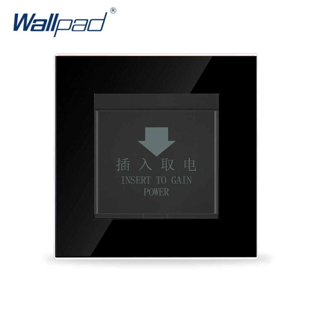 цена на Wallpad Luxury Black Crystal Glass Panel 86*86mm 110V-250V Luxury Hotel Insert Card Power Supply Wall Switch with Card