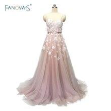 Sexy 2019 Blush Wedding Dresses với Pha Lê Spaghetti Dây Đeo Tulle Hoa Wedding Gown Wedding Gown Wedding Vestido de Novia BT04