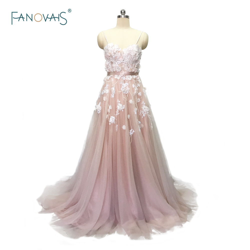 Sexy 2019 Blush Wedding Dresses with Crystal Spaghetti Straps Tulle Flower Wedding Gown Bridal Gown Vestido de Novia BT04blush wedding dresswedding dress with crystalswedding dress -