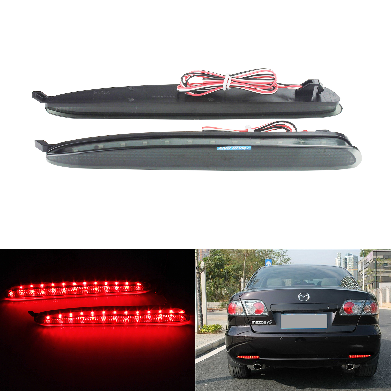 ANGRONG 2x Red 24 LED Rear Bumper Reflector <font><b>Light</b></font> 2003-2008 For Mazda6 Atenza GG Mazdaspeed6 image