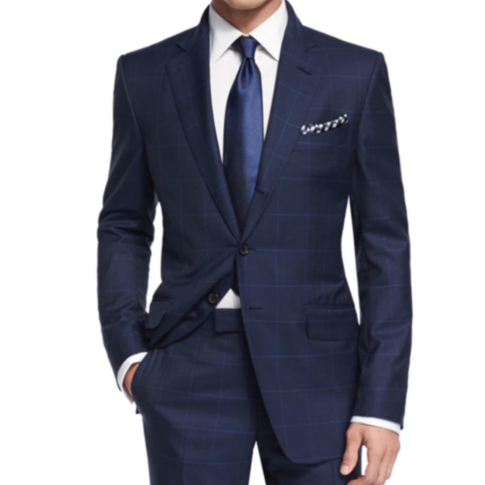 De lujo de la Marina a cuadros traje de los hombres de mezcla de lana trajes  de negocios con Bemberg forro A medida Tailore Casual ventana traje azul en  ... 9fec3327d73