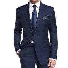 럭셔리 해군 격자 무늬 정장 남자 사용자 정의 만든 양모 혼합 비즈니스 정장 bemberg 안 감, 맞춤 tailore 캐주얼 windowpane 블루 양복