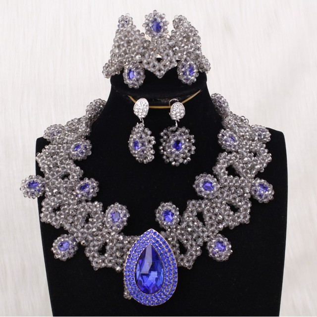 Dudo Jewelry Luxury Necklace Sets For Nigerian 2019 African Costume Jewelry Silver and Royal Blue Handmade Wedding Bridal Sets
