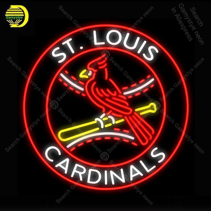 NEON SIGN For St Louis Cardinals Bird NEON Lamp GLASS Tube Decor Ball Room Windows Handcraft Sport anuncio luminoso Dropshipping