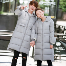 2016 free Shipping winter Autumn long down Cotton jacket manteau women's and men  down coats female parkas outerwear femme hiver