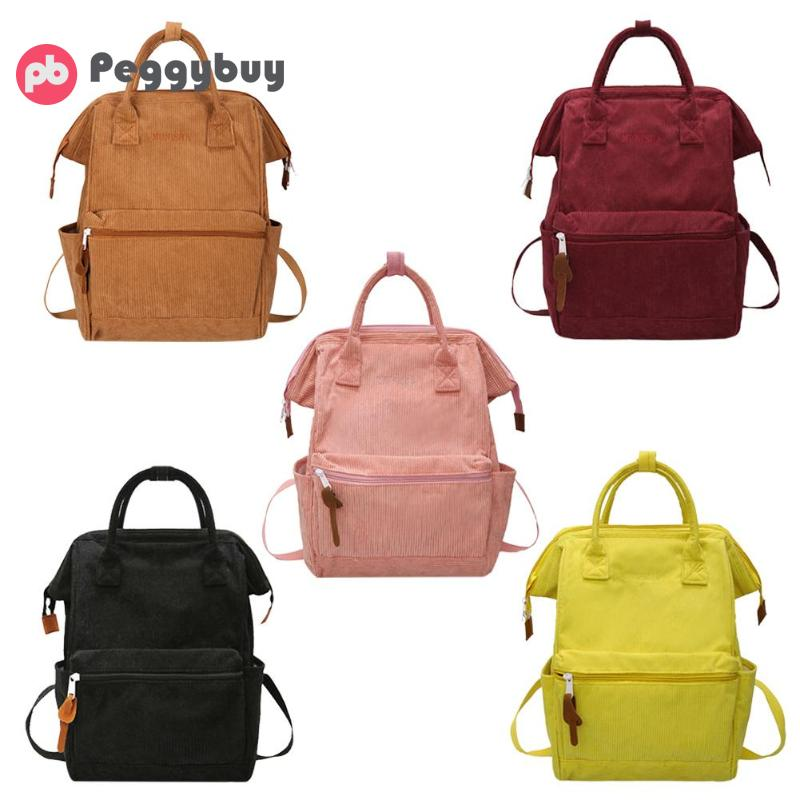 HTB1Y6uyapP7gK0jSZFjq6A5aXXay Corduroy Backpacks For Women 2019 Mochila Fashion Winter Casual Style Ladies Solid Color Back Pack Female Teen Girls School Back