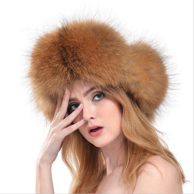 Alta Calidad Real Silver Fox Sombrero de Piel de Invierno de Las Mujeres  Calientes 2016 nuevo ... bbacc2ff924