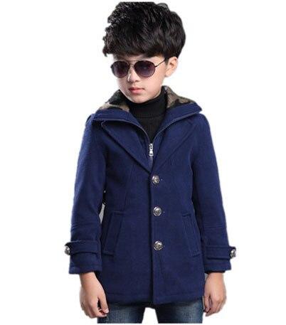 kids 2016 autumn and winter children woolen coat long section plus thick velvet warm Slim coat big virgin baby boy clothes