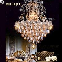 Новый список Роскошный атмосфера гостиной золотые люстры хрустальные светильники спальня светодиодные лампы roundr Спальни лампа Зал