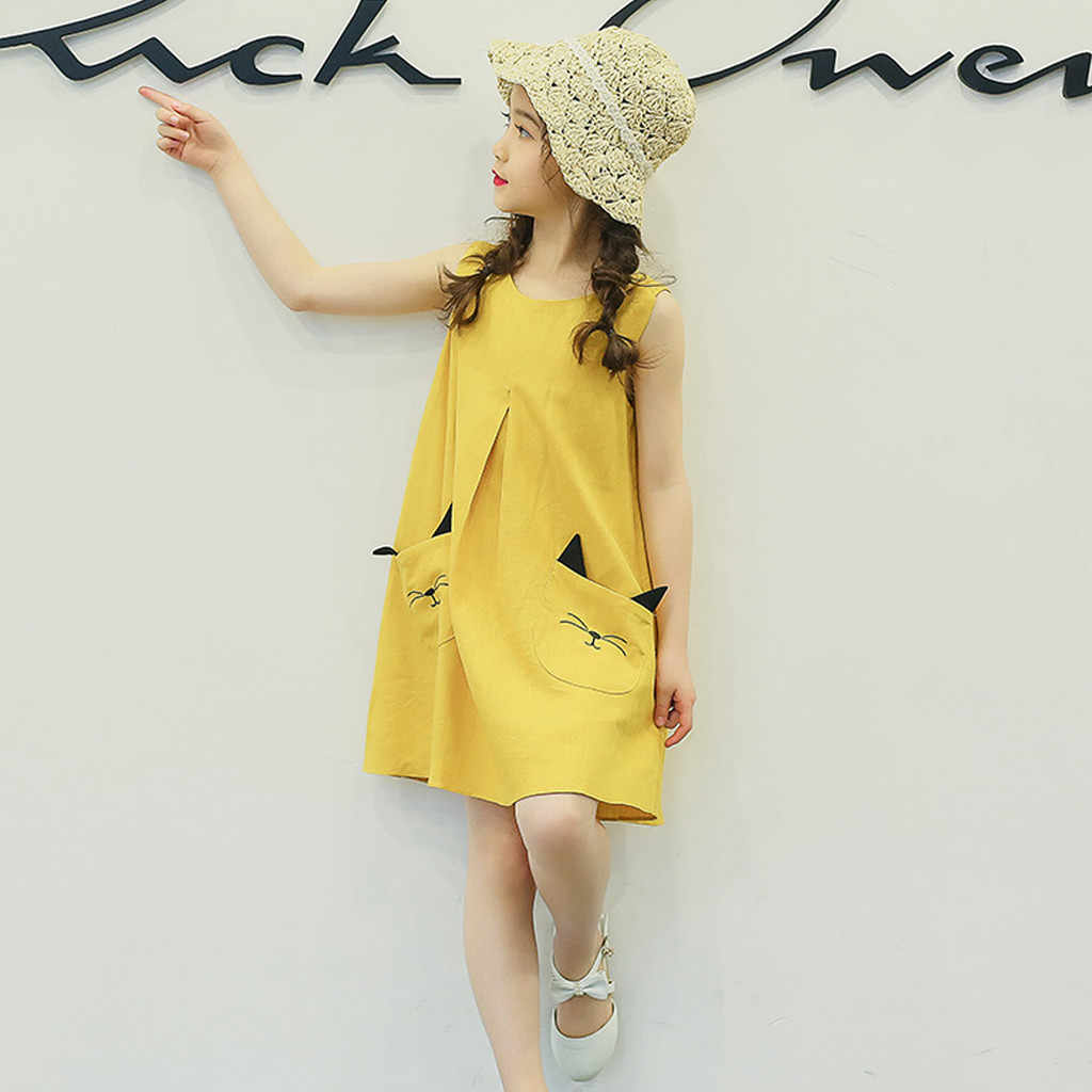 Платье для девочек-подростков; детское платье принцессы без рукавов с рисунком котенка и карманом; комплект одежды; детская одежда; Новинка 2019 года; сезон лето
