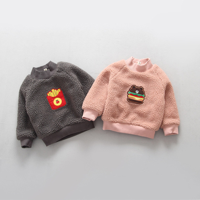 Children's Fashion Top Boy's and Girl's Baby Cartoon Winter Paragraph Half A Turtleneck Double Add Wool Warm Fleece Pullovers