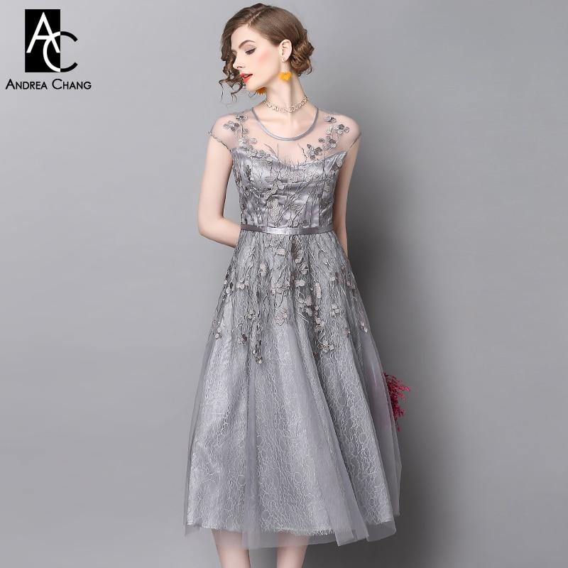 Vestidos de mujer de diseñador de pasarela de primavera y verano para fiesta vestido de fiesta gris vestido de baile bordado de flores de encaje de longitud de pantorrilla-in Vestidos from Ropa de mujer    1