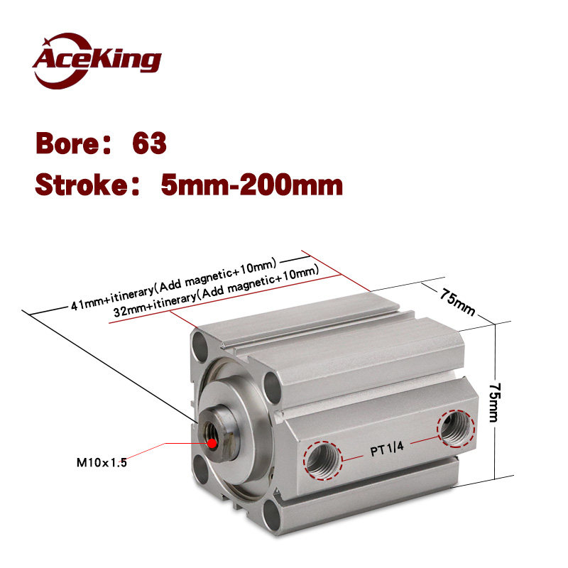 SDA 63 Pneumatikzylinder Kompaktzylinder 63mm Bohrung Hub 5mm 100mm