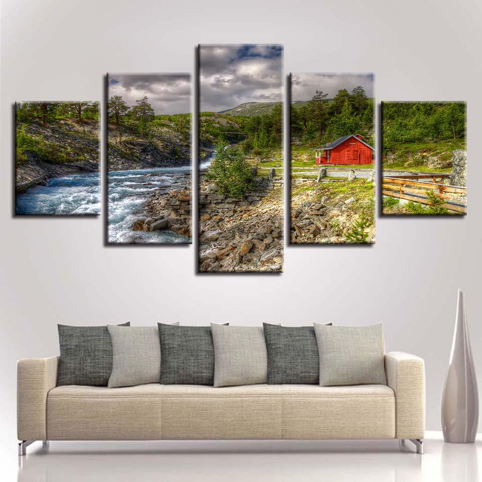 Lienzo cuadros decoración HD imprime 5 unidades árboles de la ...