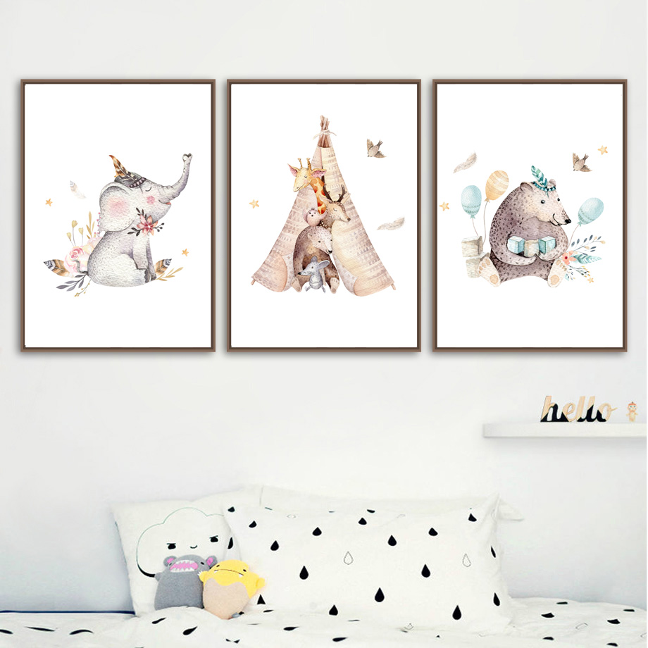 Elephant Rabbit Bear Wall Art Canvas Painting Nordic Posters And Prints Cartoon Animals Wall Pictures Baby Kids Room Home Decor in Painting Calligraphy from Home Garden
