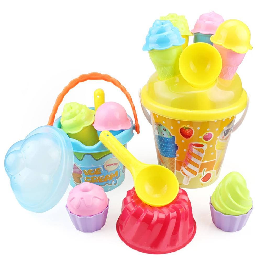 Kids Beach Toys Set Baby Colorful Ice Cream Cake Molds Spoon Pail Set Outdoor Play Sand Toys For Children Summer Toys Beach Toys
