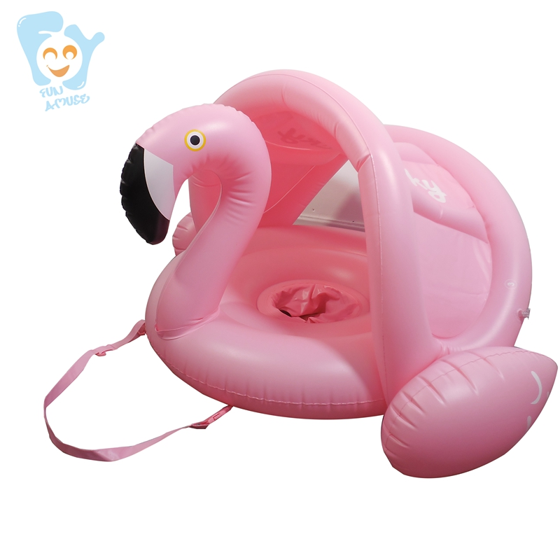 Gonflable Flamant Rose Bébé Siège Flottant Piscine avec Auvent Enfant Tour sur Animal Piscine Flottant Eau jouet amusant