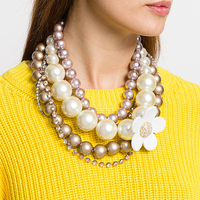Personalized Enamel Flower Multilayer Strand Big Acrylic Pearl Necklace Women Exaggerated Statement Chunky Necklace Jewelry