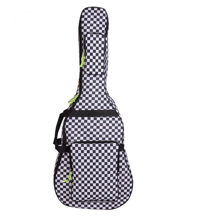 Professional portable durable 40 41 acoustic wood guitar bag black and white grid backpack soft gig case padded cover waterproof wholesale good quality professional portable padded electric guitar bag waterproof case soft gig backpack shoulder straps