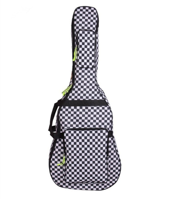 Professional portable durable 40 41 acoustic wood guitar bag black and white grid backpack soft gig case padded cover waterproof