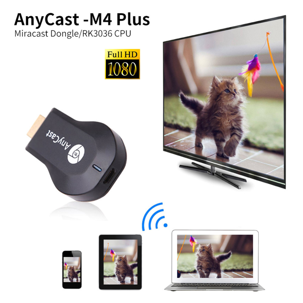 AnyCast Plus Wireless WiFi Dongle Ricevitore 1080 P Display HDMI Media Video Streamer Switch-free HD TV Stick DLNA Airplay Miracast