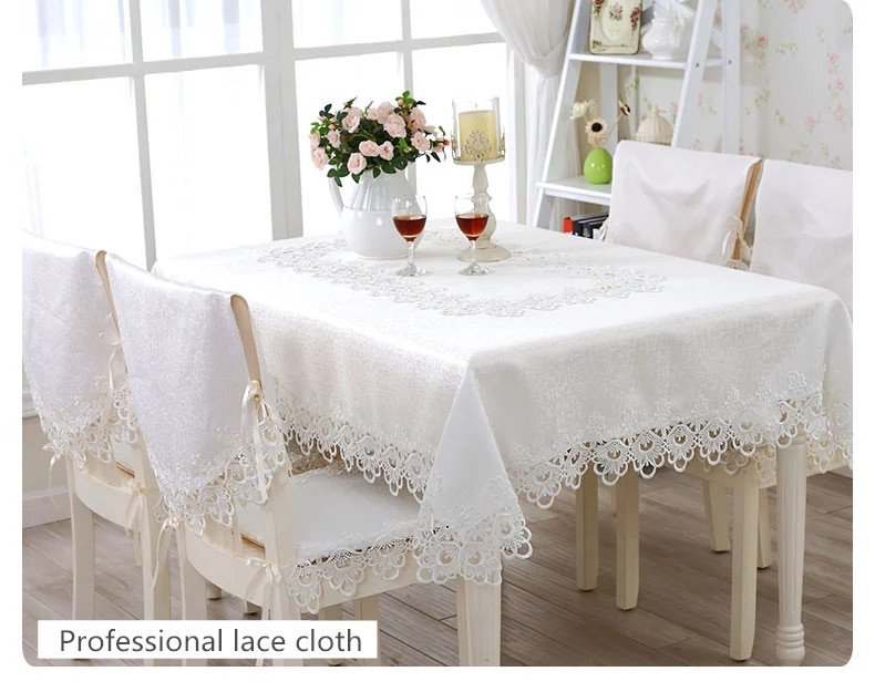 White Elegant Polyester Satin Lace Tablecloth Wedding Table Cloth Cover  Overlays Home Decor Textiles Round And