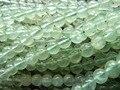 Frete grátis (2 fios/set) natural 8mm prehnite suave rodada grânulos de cristal verde