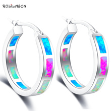Rolilason бренд Дизайн великолепные Цвет огненный опал Серебро 925 Серьги-кольца Юбилей Модные украшения для Для женщин OE610