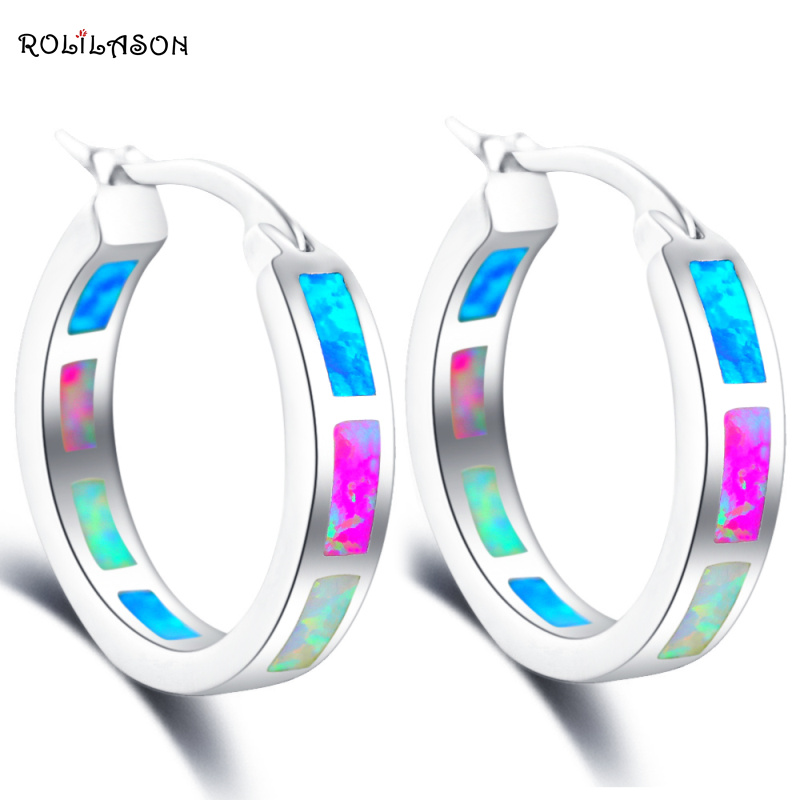 ROLILASON Brand Design Gorgeous Color Fire Opal 925 Silver Hoop Earrings Anniversary Fashion Jewelry for Women OE610
