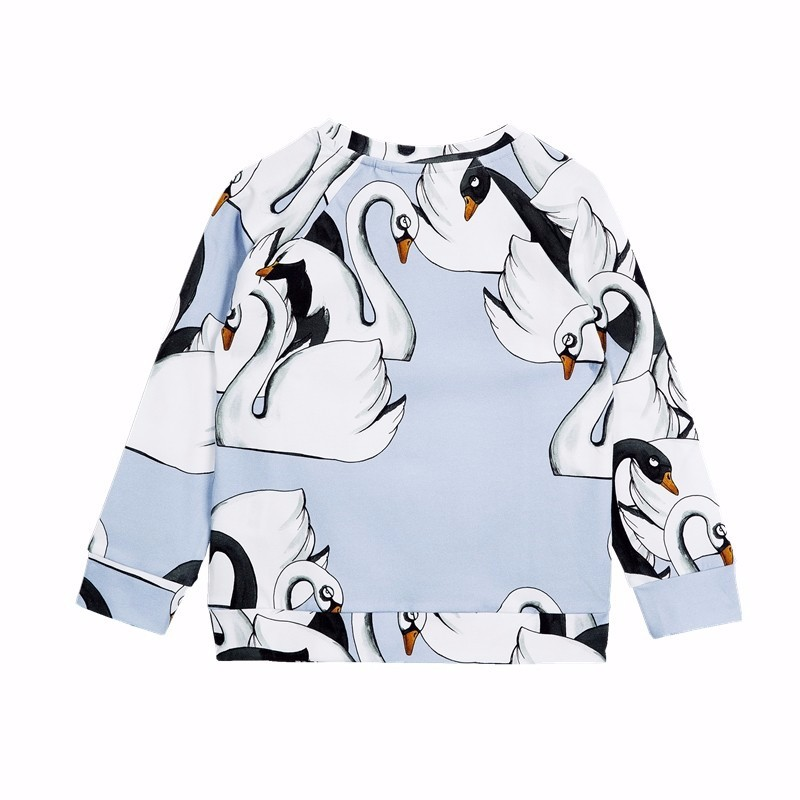 WHOSEBABY Enfant Swan Print Winter Kids Tops or Pants Long Sleeve Boys and Girls Autumn Light Blue Minecraft T-shirt or Pants (4)