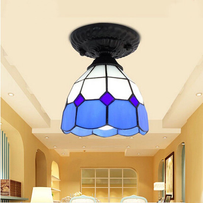 ФОТО Ceiling Light Stained Glass Lampshade Mediterranean Sea Style Dining Room Lamparas Luminaria E27 110 240V