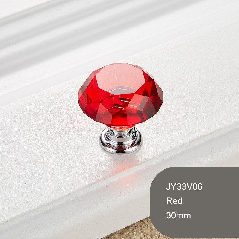 1 шт. Алмазная форма Хрустальное стекло 30 мм ручка выдвижного ящика ручка шкаф ящик комод фурнитура Аксессуары - Цвет: Красный