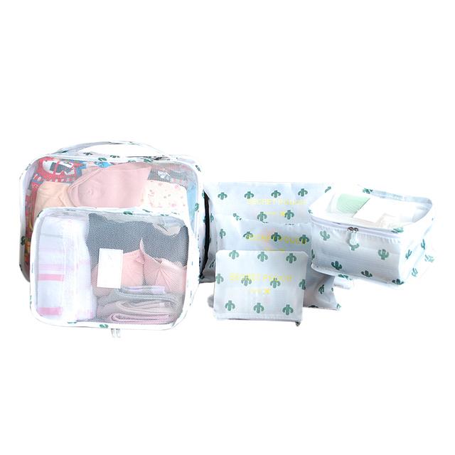 Women's Printed Reusable Travel Bags Set, 6 Pcs