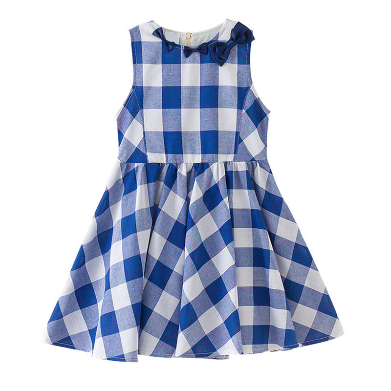 4 to 14 years kids & teenager big girls summer cute bow plaid cotton causal flare dress children fashion blue sleeveless dress