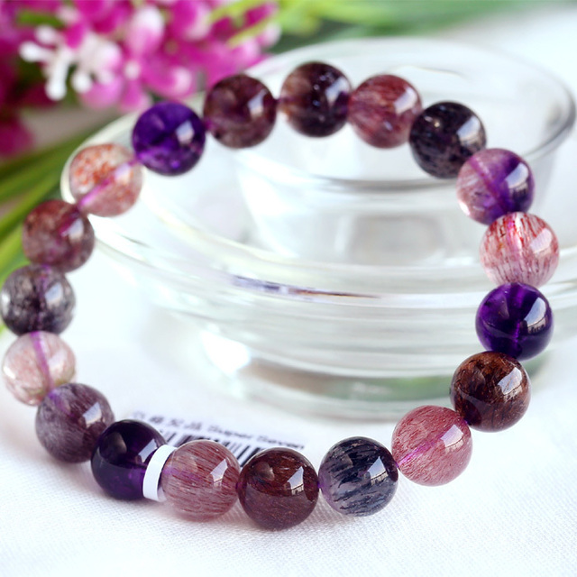 High Quality Natural Genuine Multi Colors Mix Super Seven 7 Finish Stretch Bracelet Round Big Beads Melody Stone 10mm 03722