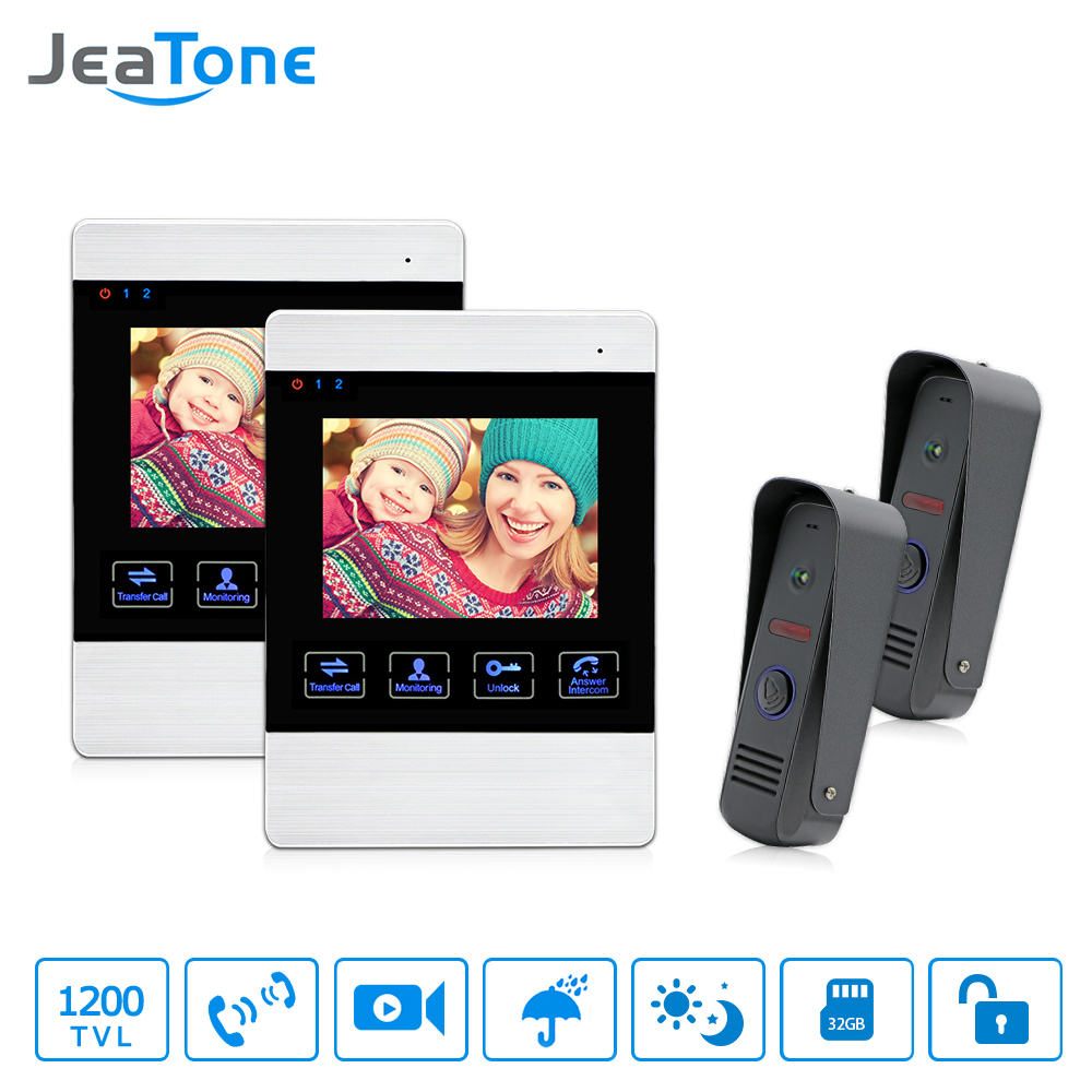 JeaTone 4 Intercom System Video Door Phone IR Night Vision Doorbell Camera Waterproof Touch Button Monitor Home Security kit tmezon 4 inch tft color monitor 1200tvl camera video door phone intercom security speaker system waterproof ir night vision 4v1