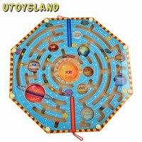 UTOYSLAND Ímãs Enigma Nove Planetas Divertidos Jogos de Labirinto Magnético Labirinto Crianças Brinquedo De Madeira para Crianças Brinquedos Educativos de Aprendizagem