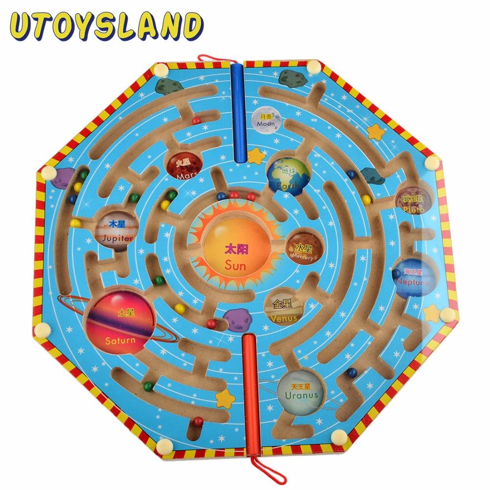 UTOYSLAND Magnets Puzzle Maze Kids Wooden Toy Nine Planets